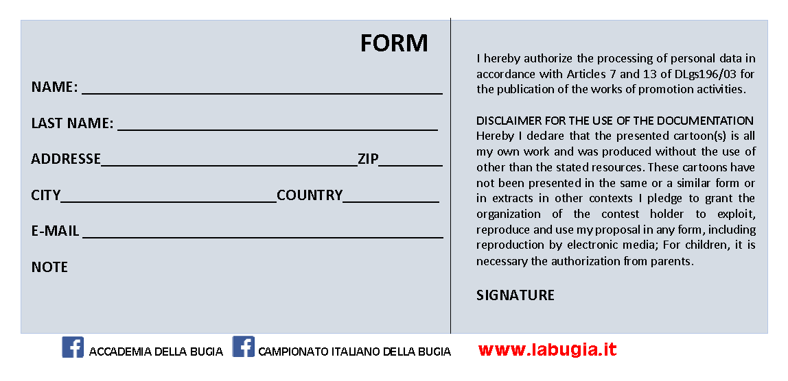 Entry Form: 44th Italian Lies Championship Graphics Contest, Italy