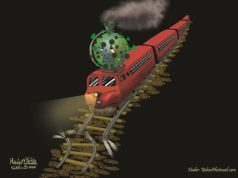 "Editorial Cartoon ""The End of the World Train"" by Hader Yehia, Egypt"