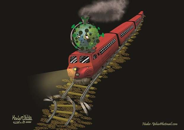 """Editorial Cartoon """"The End of the World Train"""" by Hader Yehia, Egypt"""