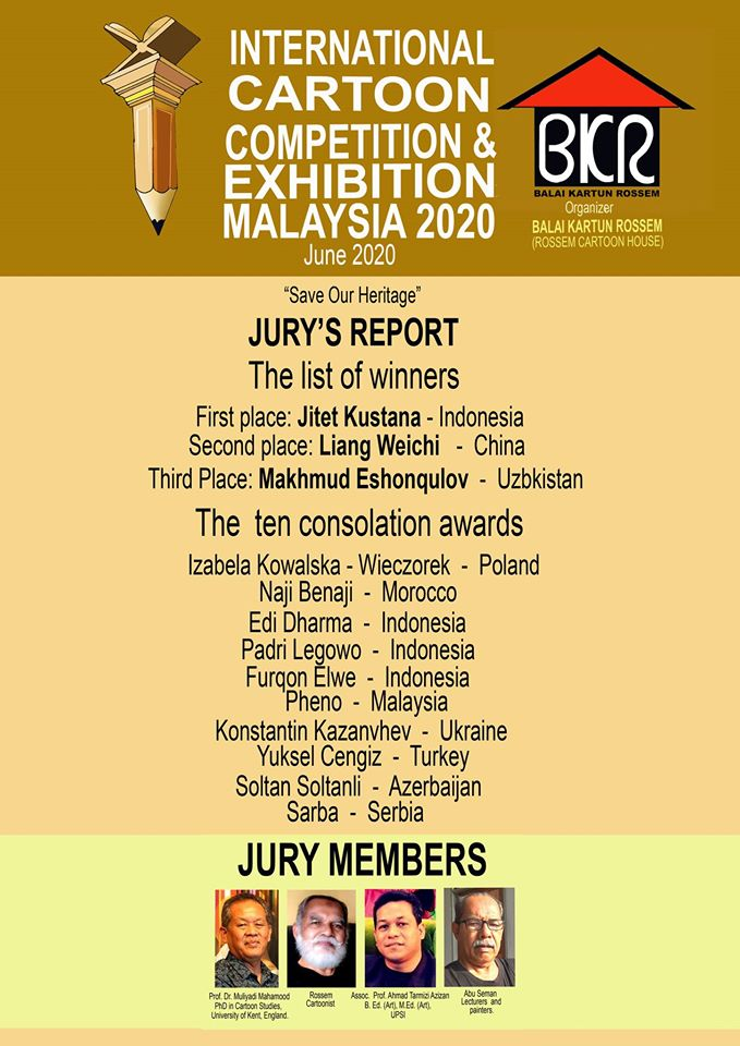The Winner of International Cartoon Competition & Exhibition Malaysia 2020